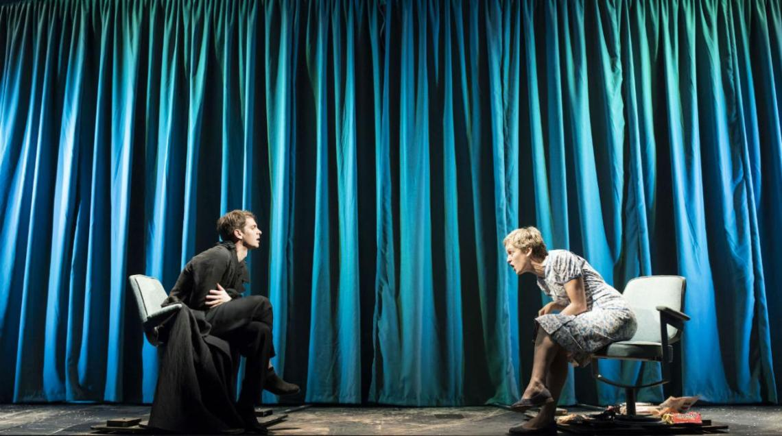 Andrew Garfield (Prior) and Denise Gough (Harper) in Angels In America Perestroika Photo by Helen Maybanks