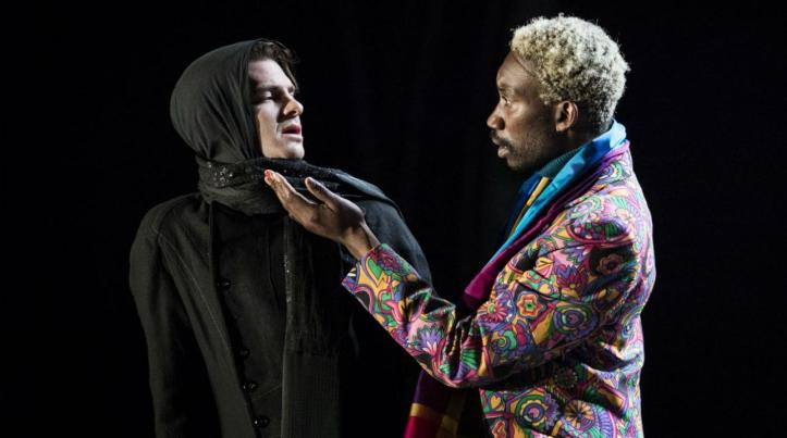 Andrew Garfield (Prior) and Nathan Stewart-Jarrett (Belize) in Angels In America Photo by Helen Maybanks