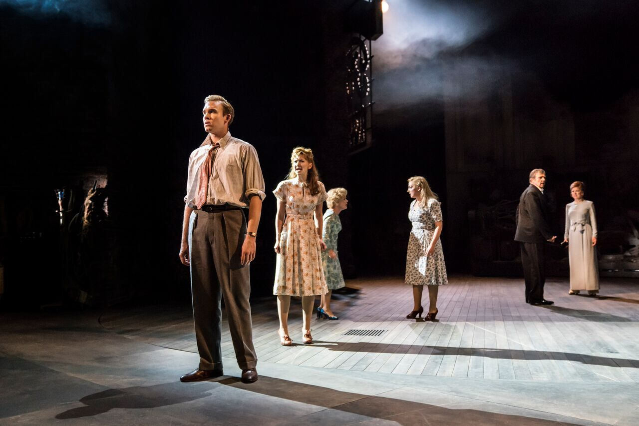 08540 Adam Rhys-Charles as Young Ben, Zizi Strallen as Young Phyllis, Imelda Staunton as Sally , Alex Young as Young Sally, Philip Quast as Ben and Janie Dee as Phyllis (c) Johan Persson
