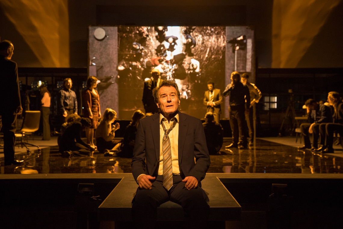 A scene from Network, centre Bryan Cranston. Image taken by Jan Versweyveld
