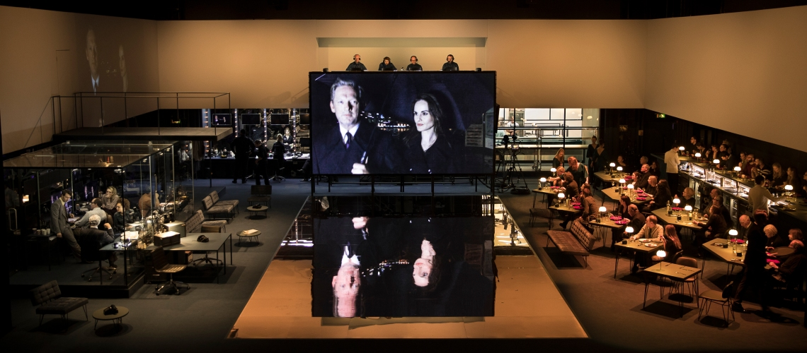 A scene from Network, centre Douglas Henshall, and Michelle Dockery. Image taken by Jan Versweyveld