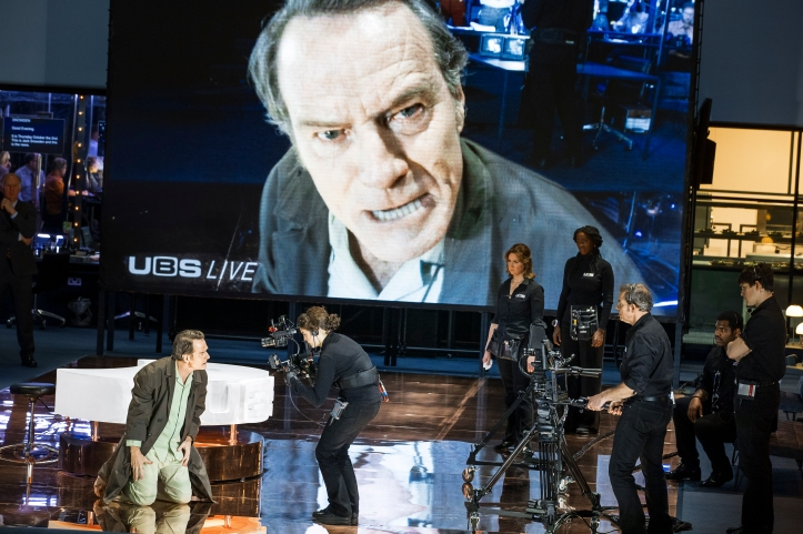 A scene from Network, left and onescreen Bryan Cranston. Image taken by Jan Versweyveld