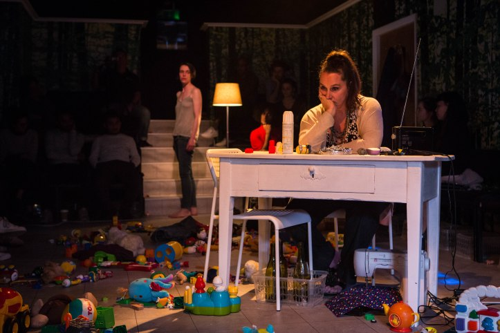 Suzy Storck at the Gate Theatre. Caoilfhionn Dunne (Suzy) and Kate Duchene (Chorus) Photo by Helen Murray.jpg